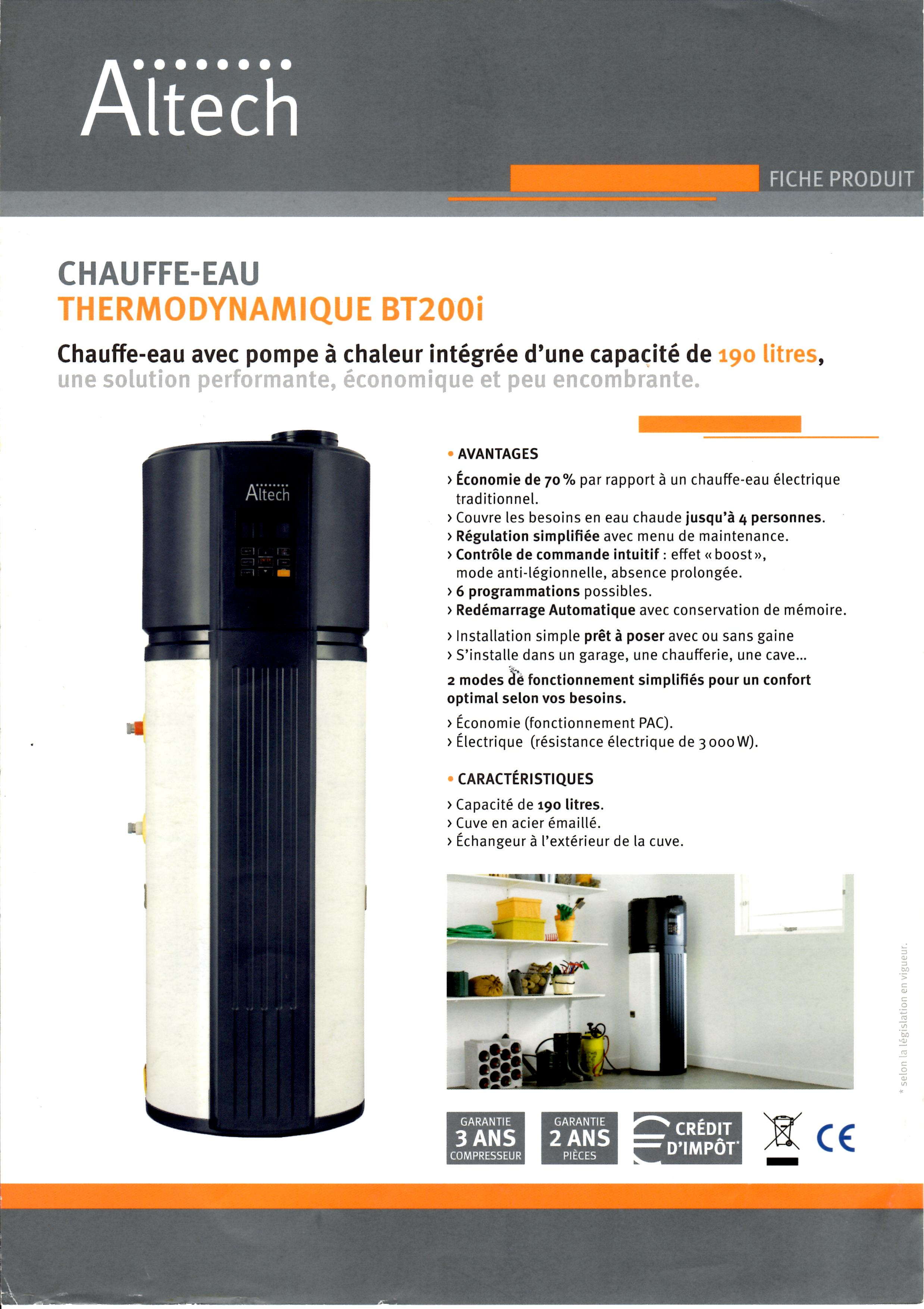 Chauffe-eau thermodynamique Altech BT180